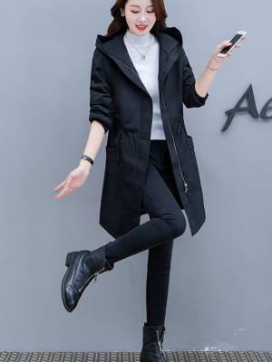 【敏红灿】绒风衣女中长款2020秋冬韩版宽松显瘦休闲大码外套