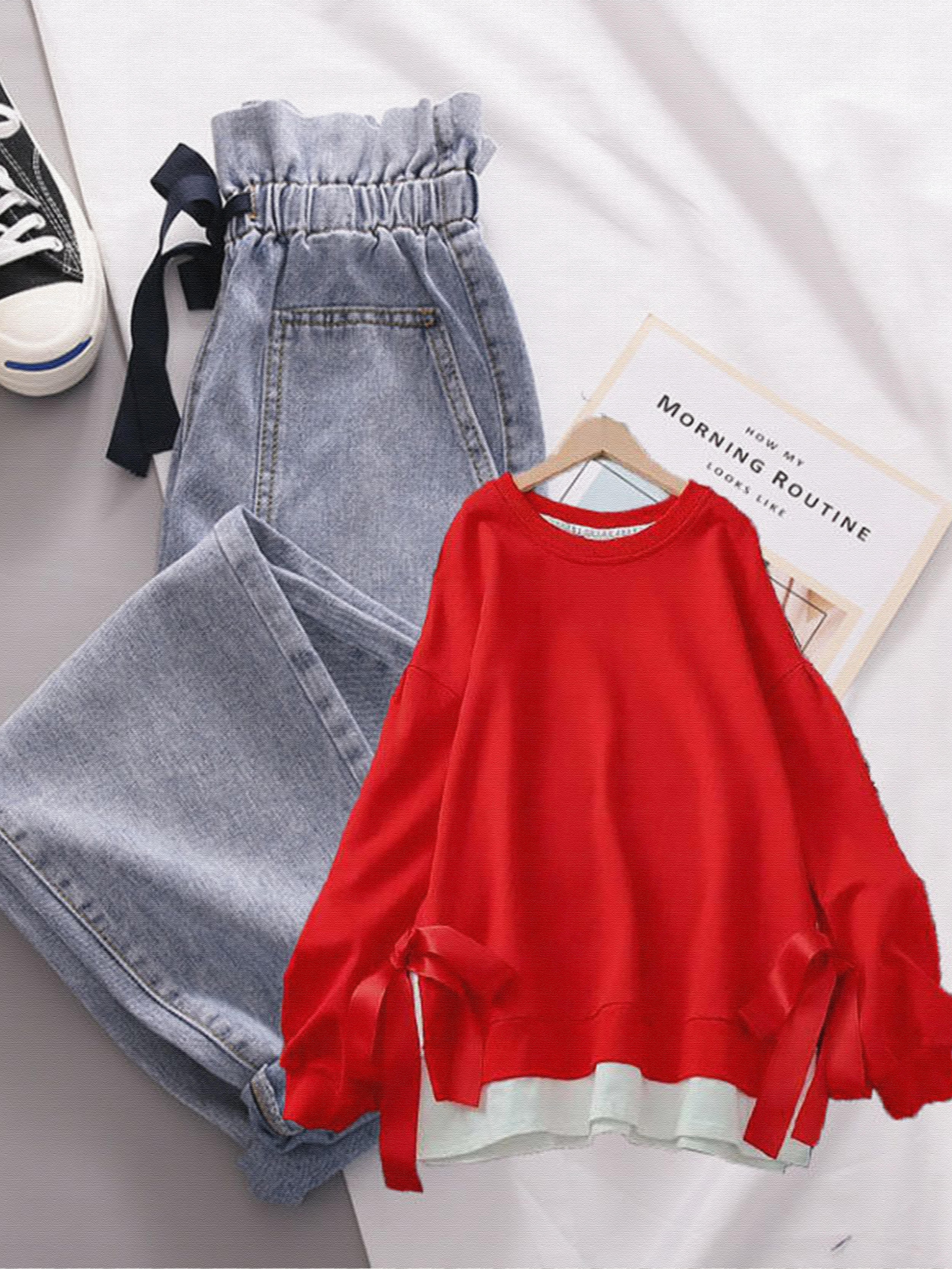 秋冬季新款假两件拼接系带卫衣花苞哈伦牛仔裤两件时尚套装女