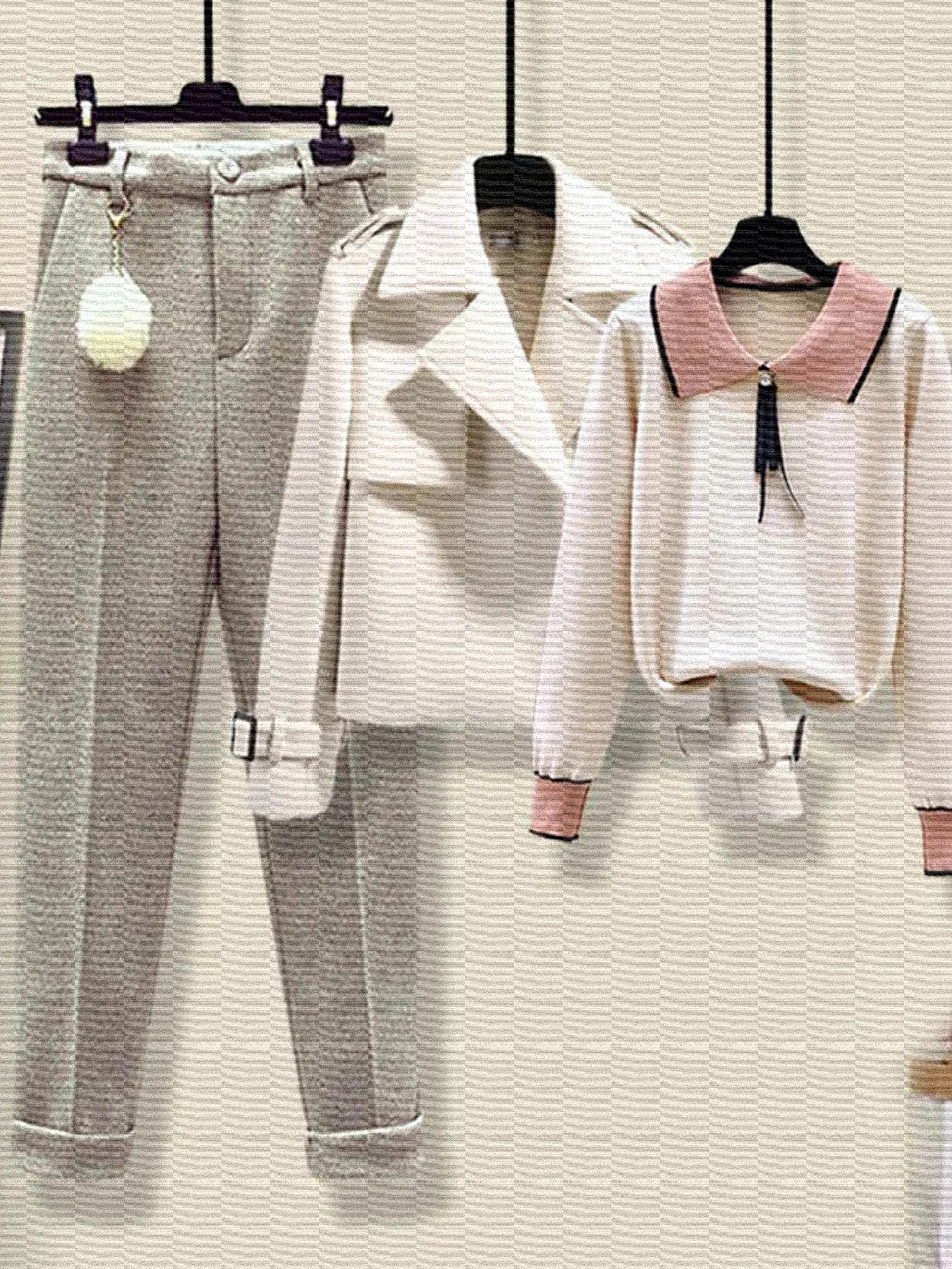 小个子套装三件套女秋冬季西装外套洋气针织衫毛高腰毛呢休闲裤