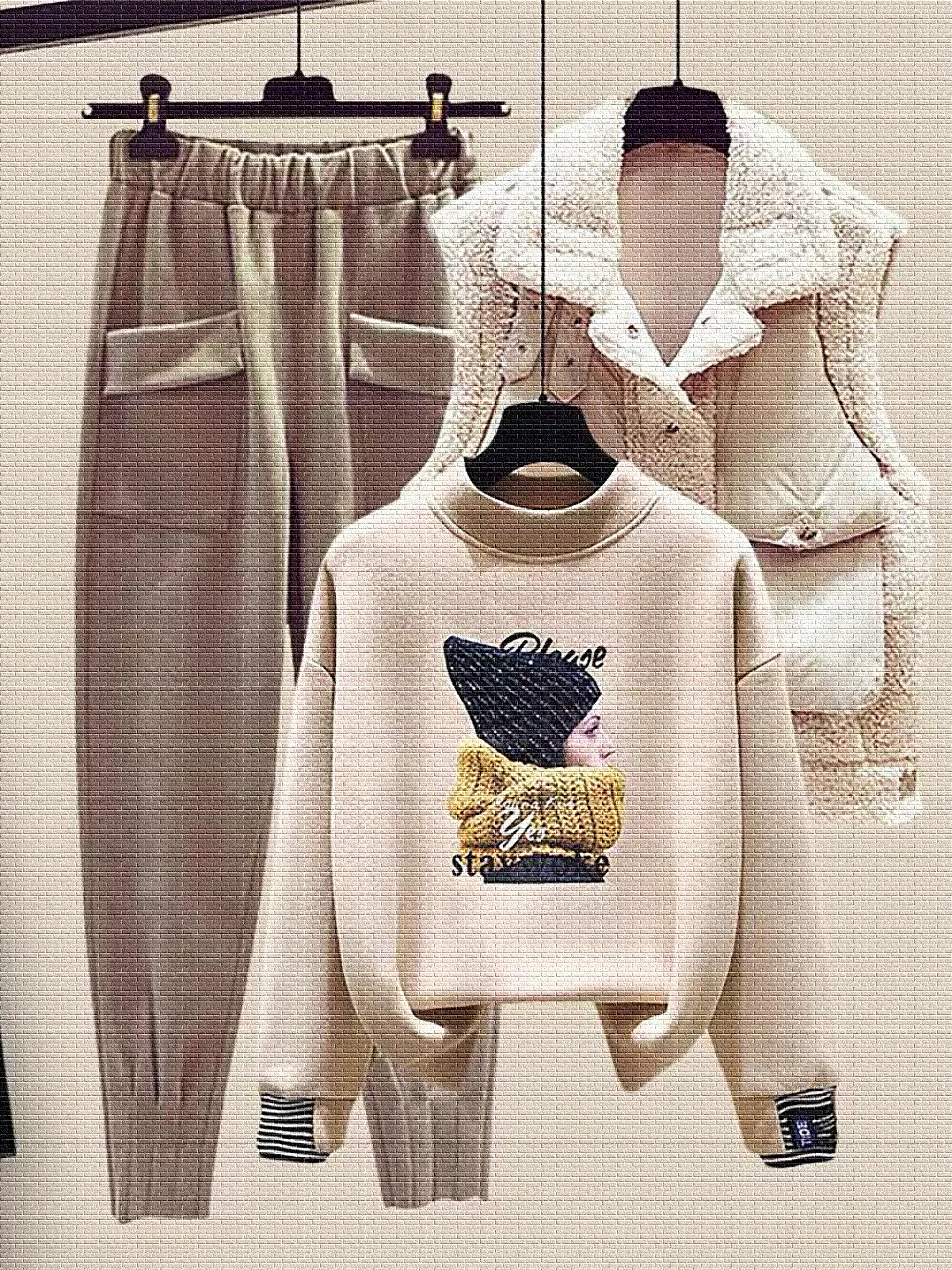 秋冬季洋气三件套小个子减龄套装女羊羔毛马甲加绒卫衣显高毛呢裤