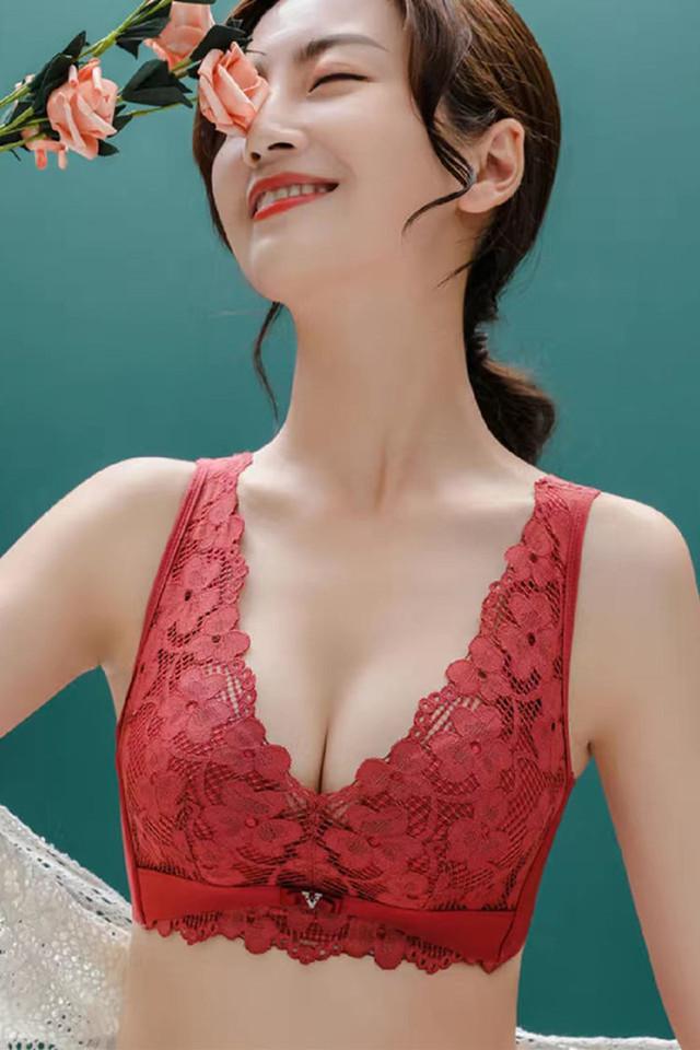 高端蕾丝美背乳胶内衣女无钢圈聚拢收副乳调整型红色本命年文胸罩