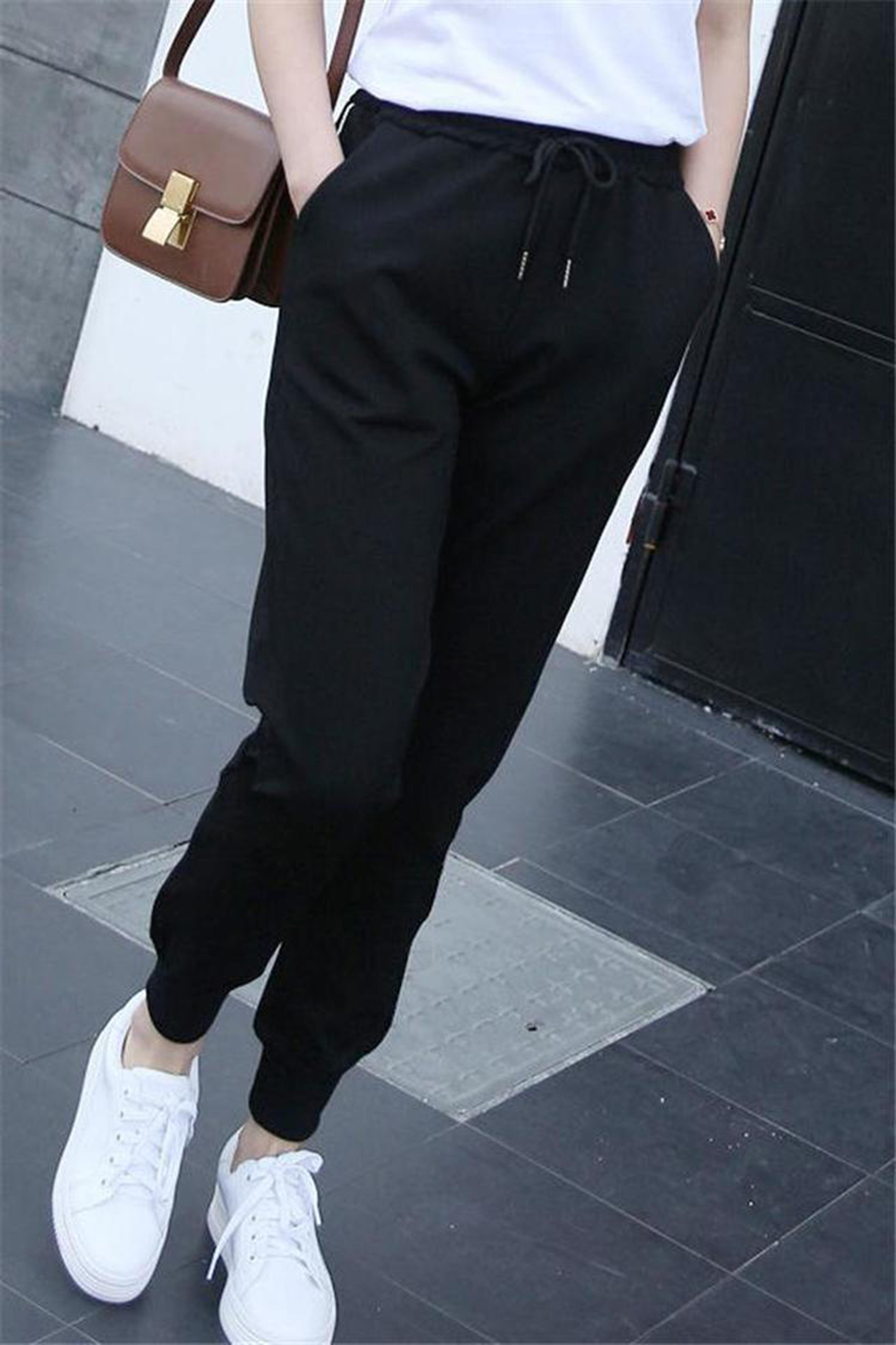 春季新款大码哈伦裤女学生韩版百搭休闲长裤子宽松显瘦运动九分裤