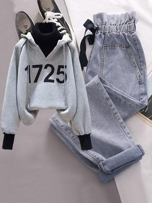 秋冬新款韩版拼接加绒连帽长袖卫衣花苞系带牛仔裤两件套时尚套装