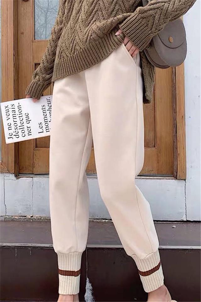 哈伦裤女秋冬新款加绒加厚毛呢裤束脚裤萝卜裤宽松显瘦网红奶奶裤