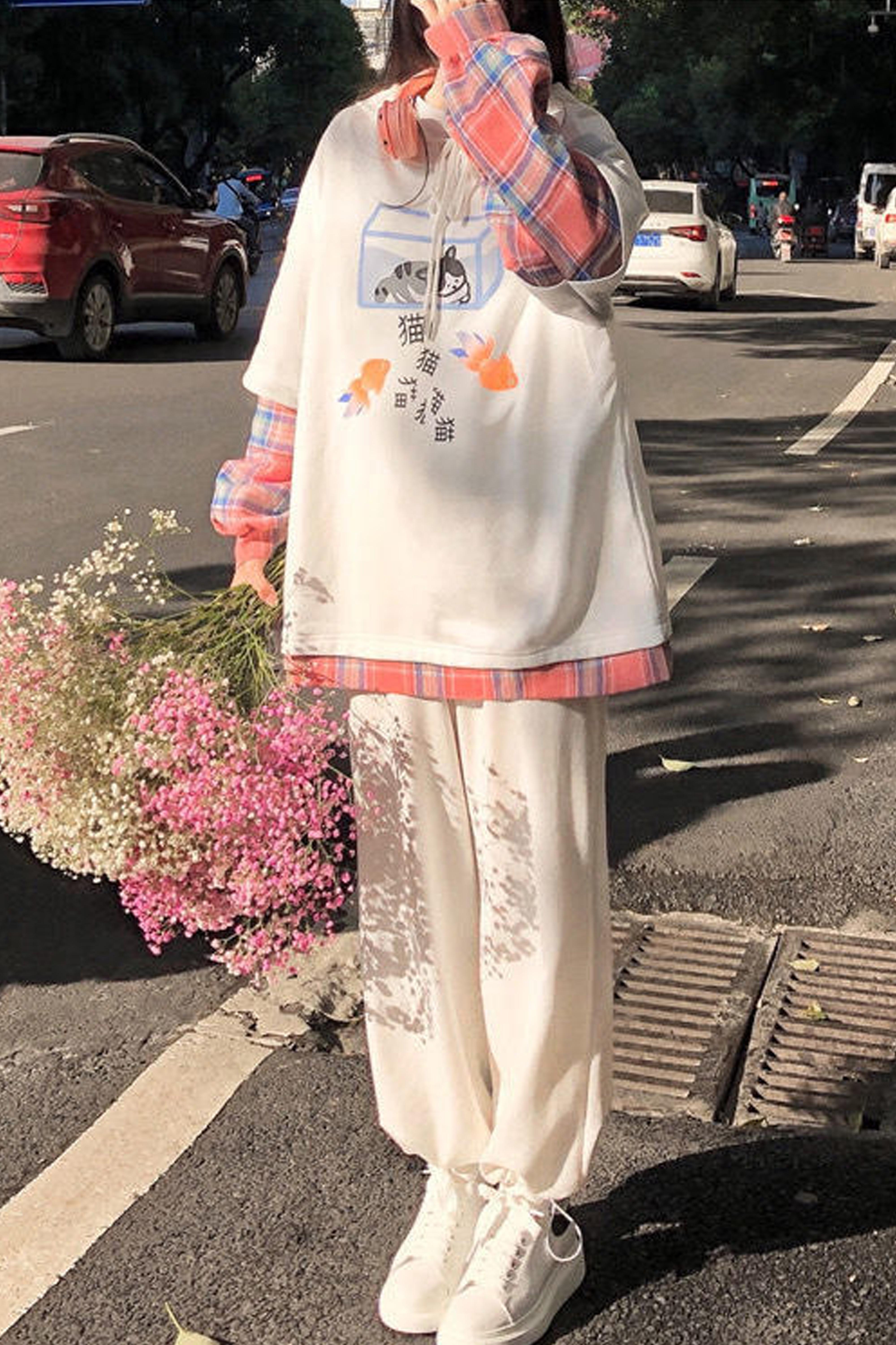 秋冬季套装女学生韩版宽松可爱假两件加绒卫衣+束脚休闲裤两件套