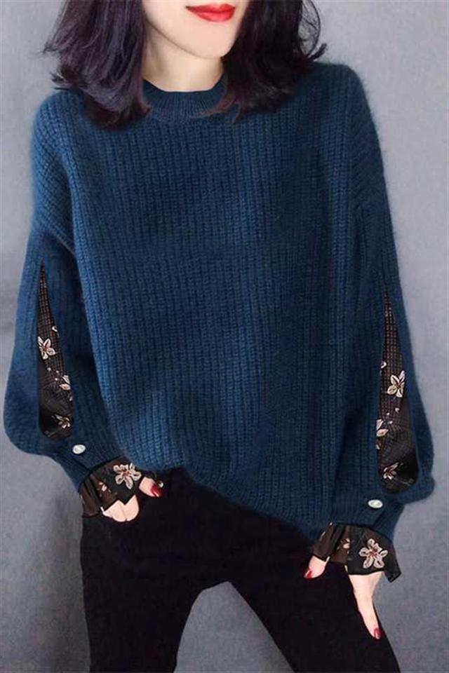 春季套装女新款网纱宽松假两件针织毛衣显瘦打底裤两件套