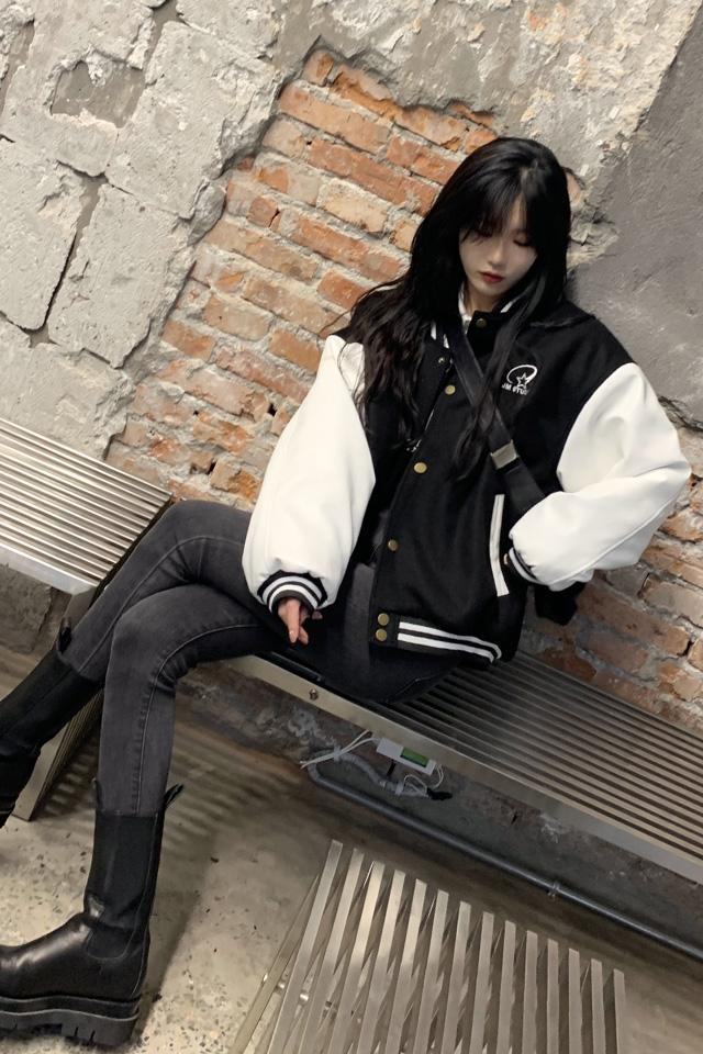 百变酷学姐学院风夹棉棉服宽松棒球服外套女+牛仔裤套装