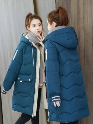 冬季新款时尚保暖棉服女中长款棉衣韩版宽松大码棉袄加厚上衣外套