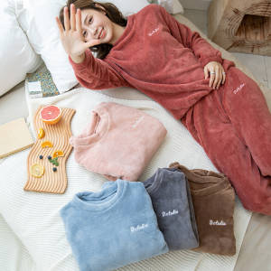 【敏红灿】仙女暖暖套装珊瑚绒宽松保暖加绒衣懒人家居服