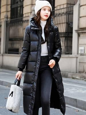 【米粒儿168_】衣女中长款修身显瘦羽绒棉服长款过膝加厚保暖 #冬季万能穿搭公式#