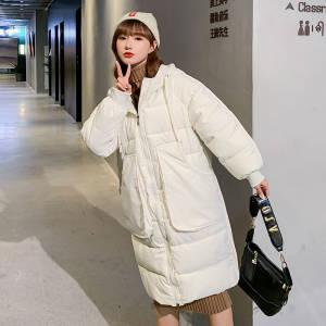 【敏红灿】款羽绒棉服女中长款宽松直筒气质棉衣大码韩版棉袄外套
