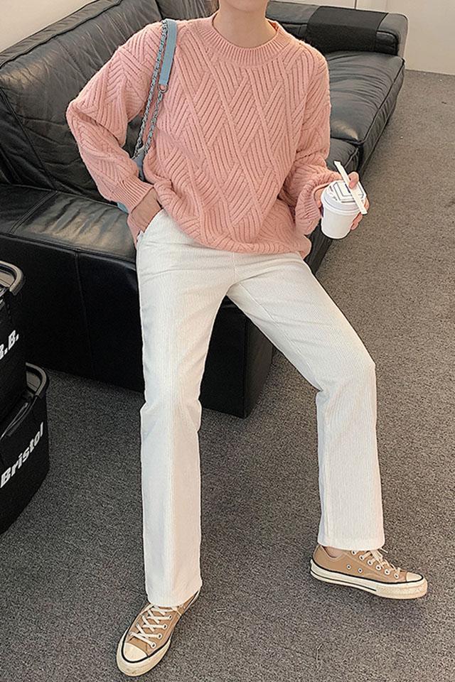 白色裤子女秋冬2020新款高腰宽松拖地长裤直筒裤灯芯绒阔腿裤