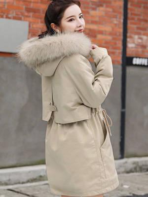 【米粒儿168_】绒派克棉服新款女棉衣韩版收腰棉袄加厚外套潮 #冬季万能穿搭公式#
