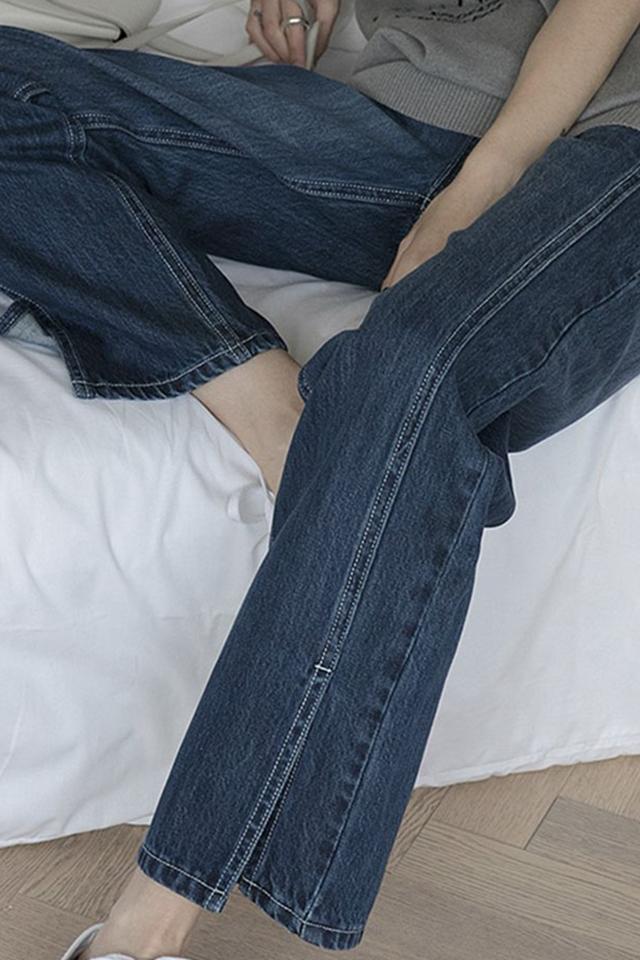 21春秋新款大码胖mm高腰牛仔裤女直筒宽松显瘦坠感开叉阔腿裤