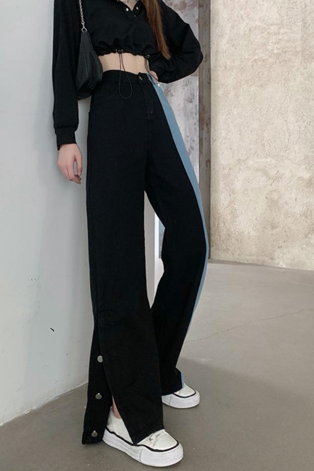 大码拼接撞色黑色牛仔裤女春装韩版百搭长裤胖MM显瘦开叉阔腿裤