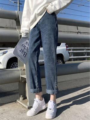 【黑皮雪梨呀呀】显瘦百搭宽松阔腿2021新款卷边老爹直筒裤子 #微胖女生穿搭#