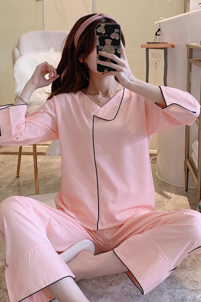 睡衣女春秋季冰丝两件套韩版可爱休闲宽松薄款仿真丝秋冬家居服