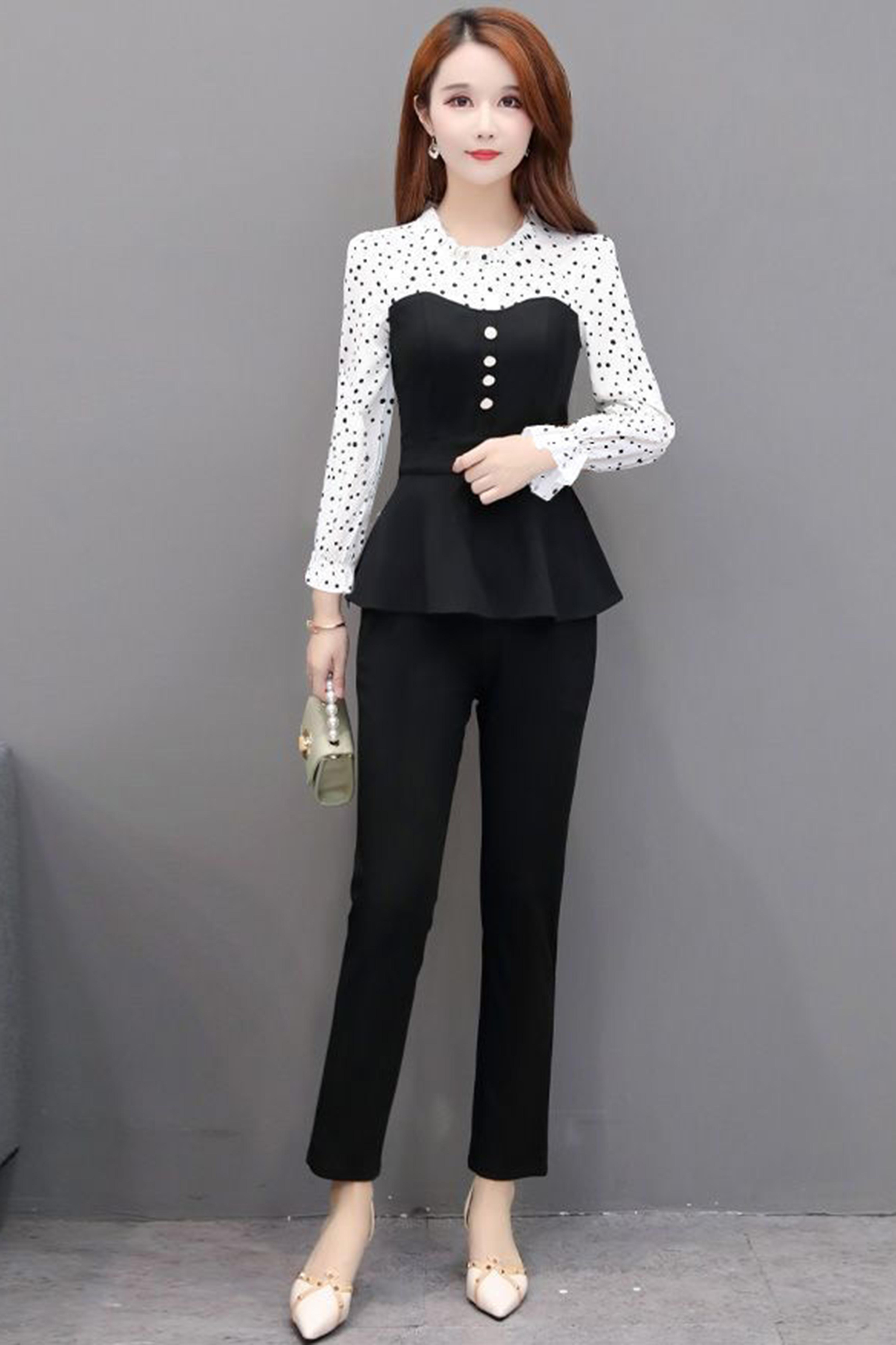 春季新款时尚套装女韩版显瘦洋气衬衫上衣+休闲小脚裤两件套装潮
