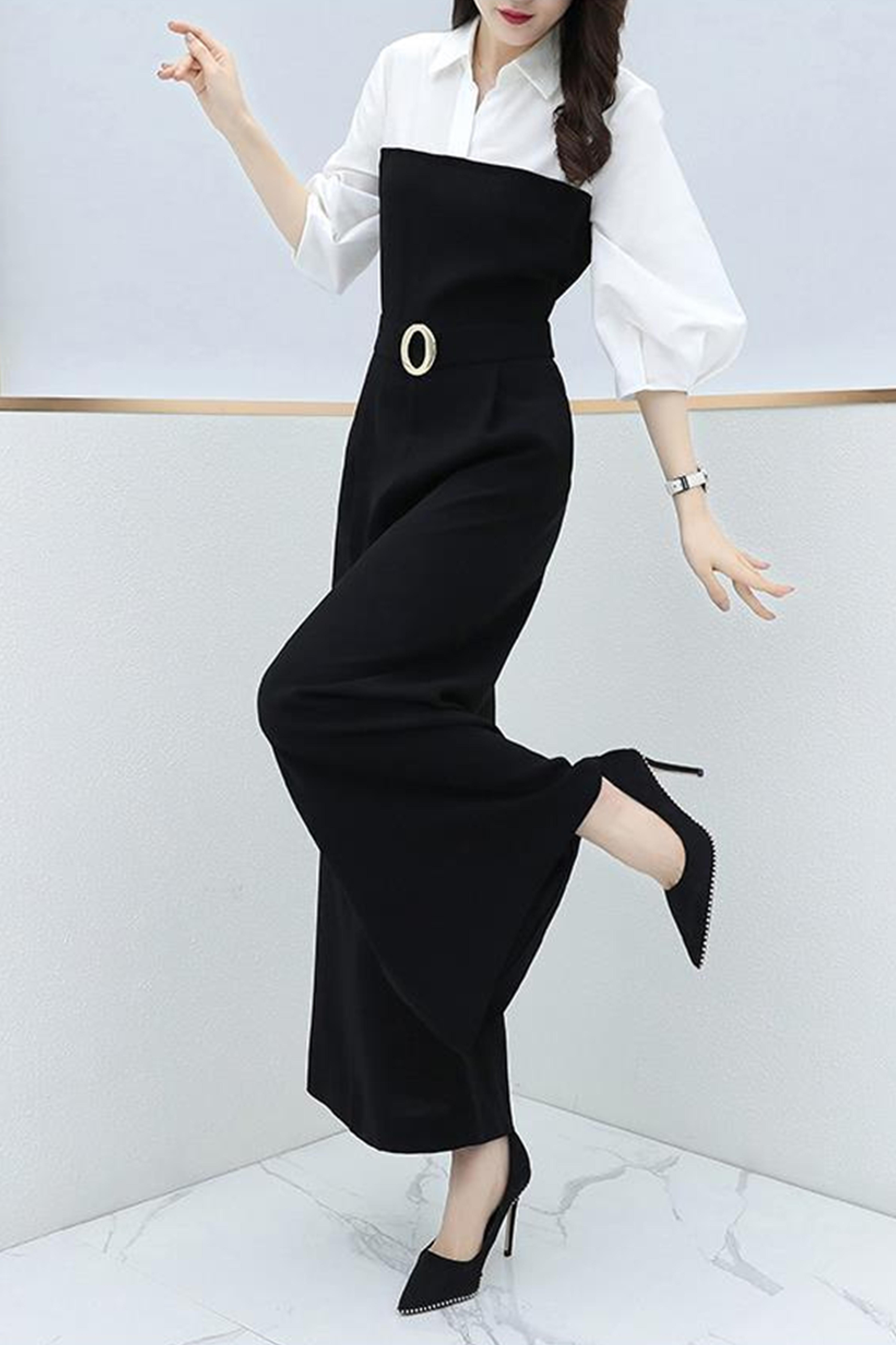 春夏季新款韩版收腰显瘦时尚气质连体裤女休闲宽松高腰阔腿连衣裤