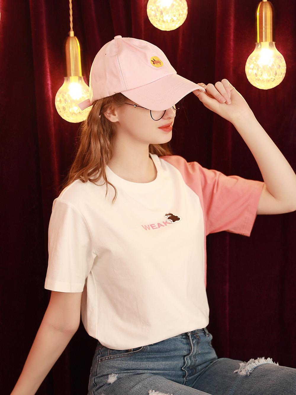 白色t恤女2021年夏季新款宽松学生短袖上衣撞色韩版体桖潮