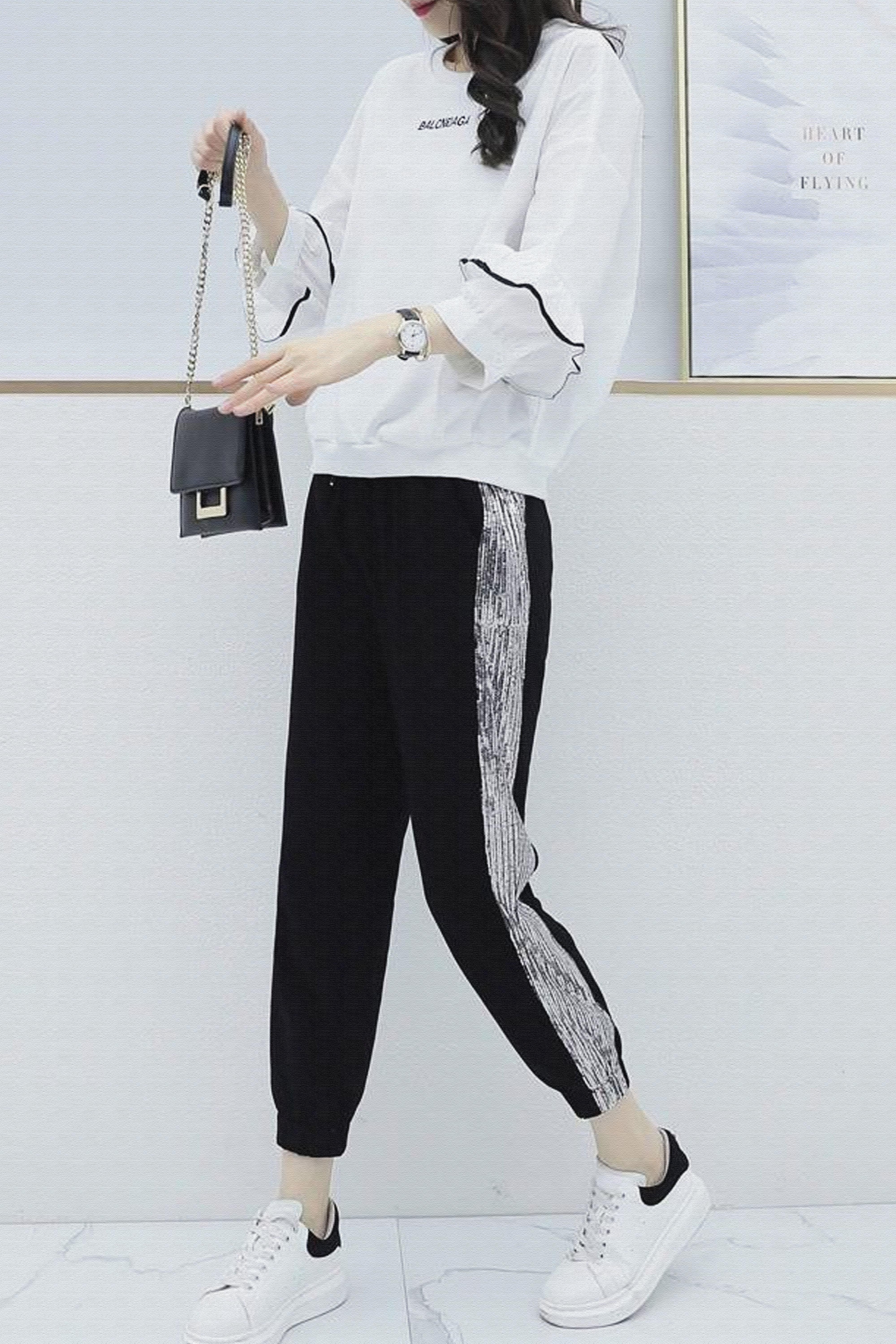 休闲运动套装女2021春季宽松时尚显瘦洋气减龄两件套