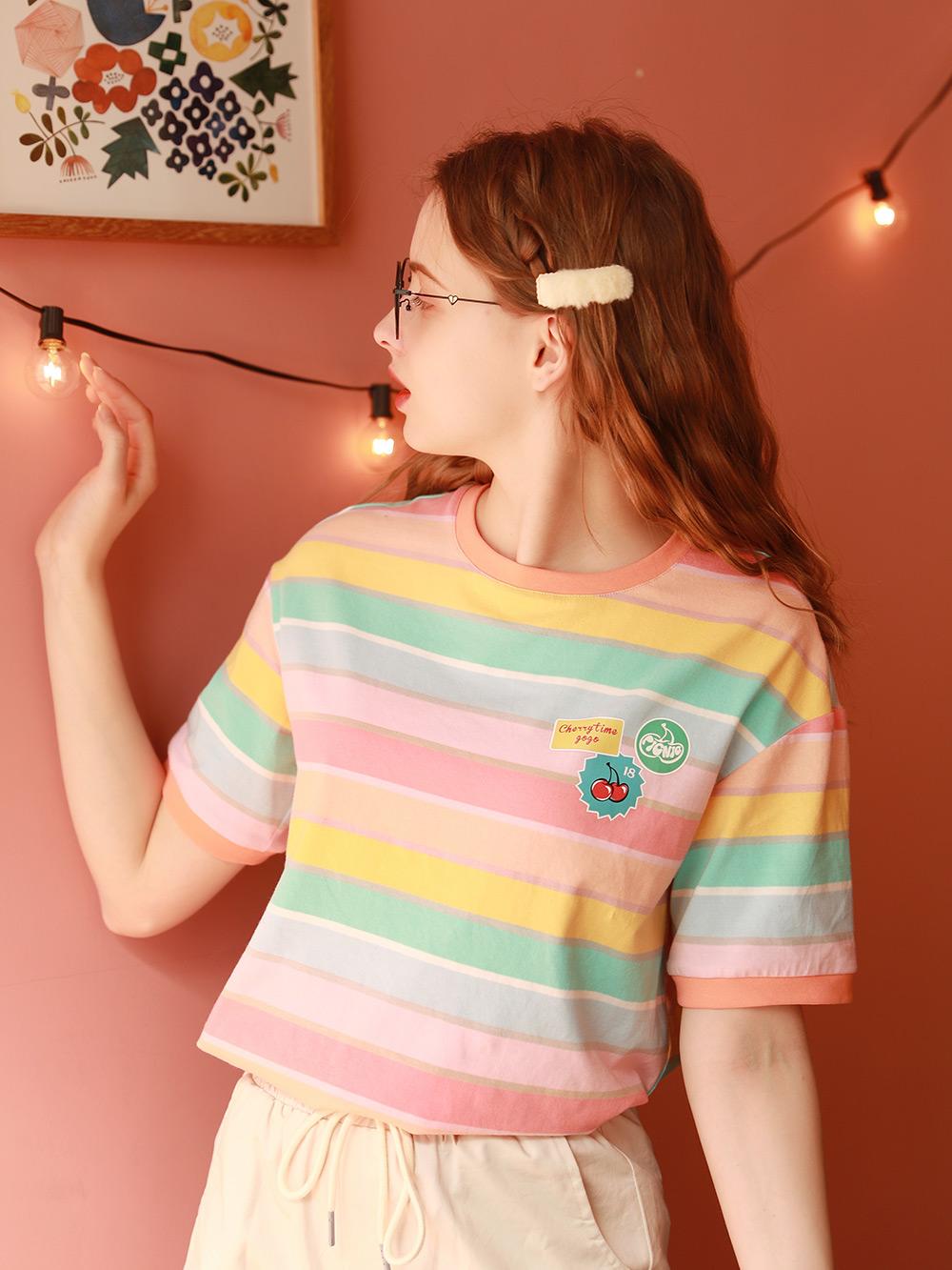 宽松洋气短袖T恤女夏2021年新款日系彩虹上衣ins半袖体桖