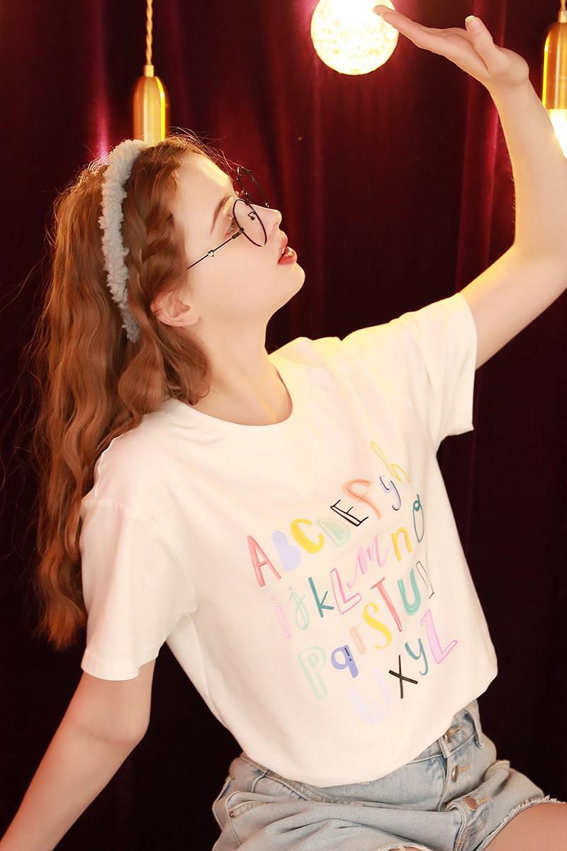2021年夏季新款短袖白色T恤女宽松韩版半袖学生日系上衣体桖