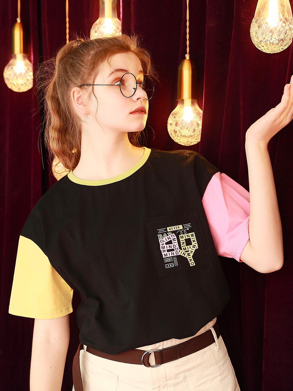 短袖t恤女2021年新款洋气设计感小众撞色学生上衣半袖体桖夏