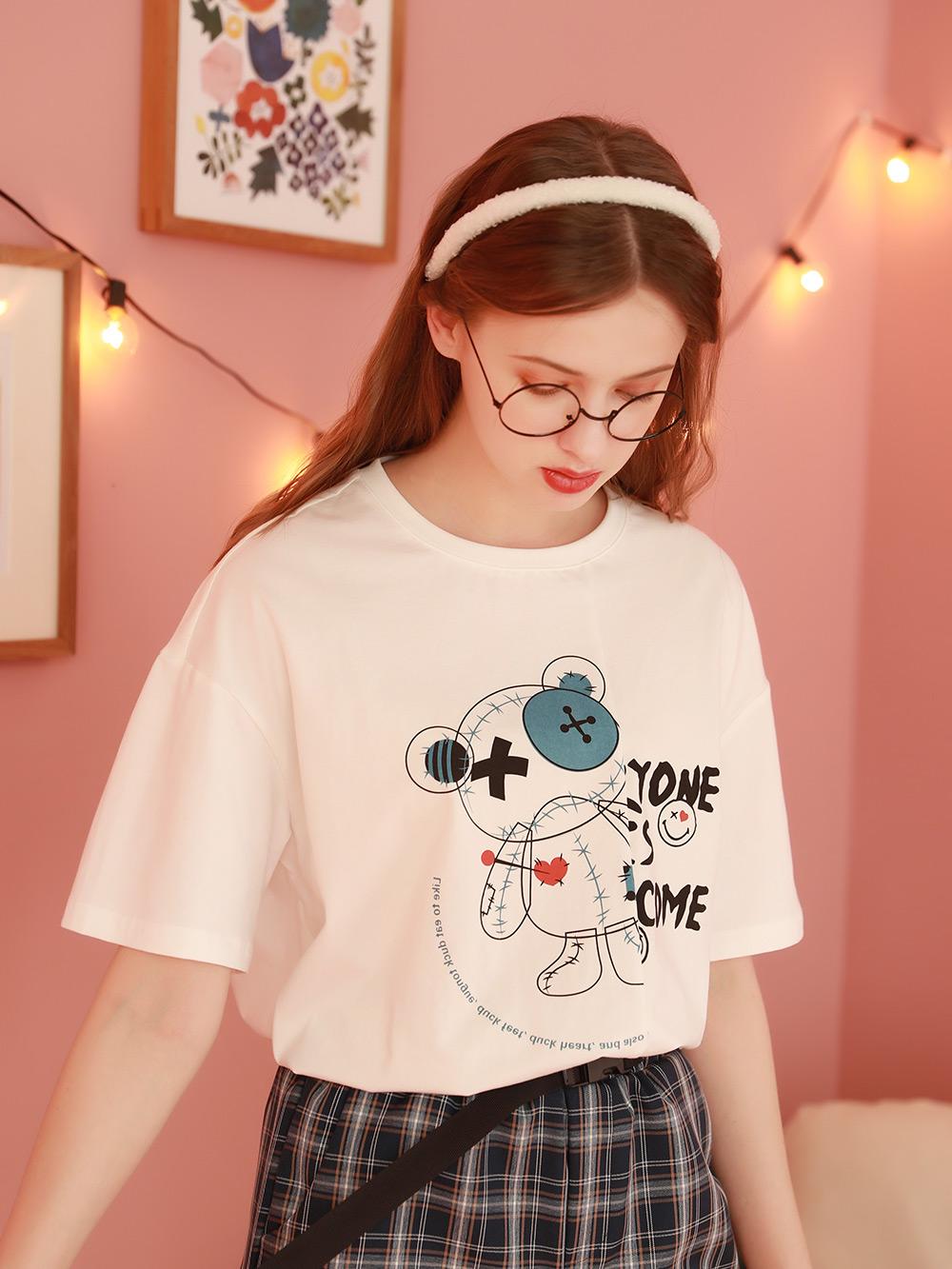 2021早春新款女上衣白色T恤短袖设计感小众不规则半袖体桖夏