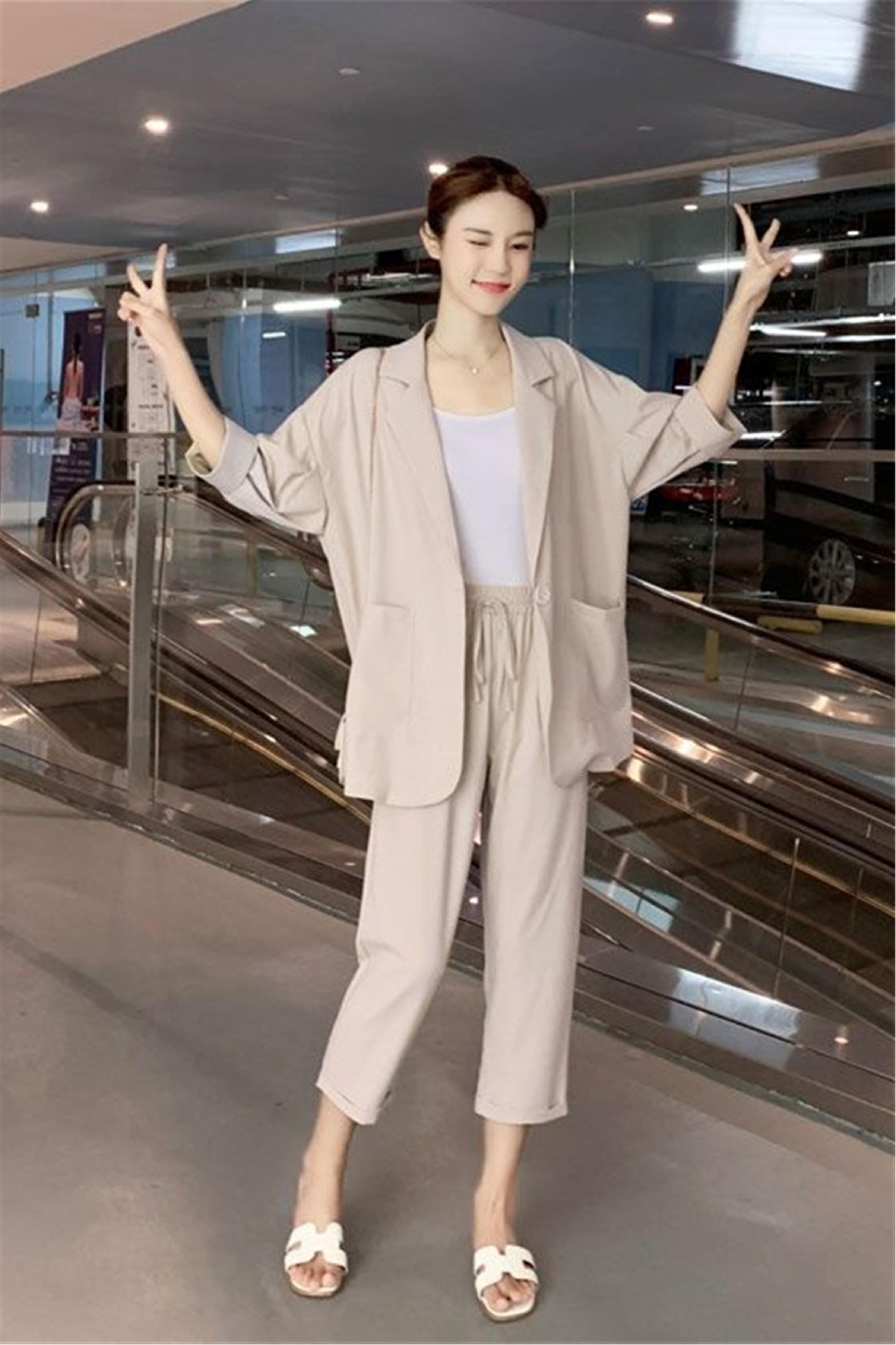 职业装气质女神范休闲小西装2021春季套装女韩版显瘦时尚OL