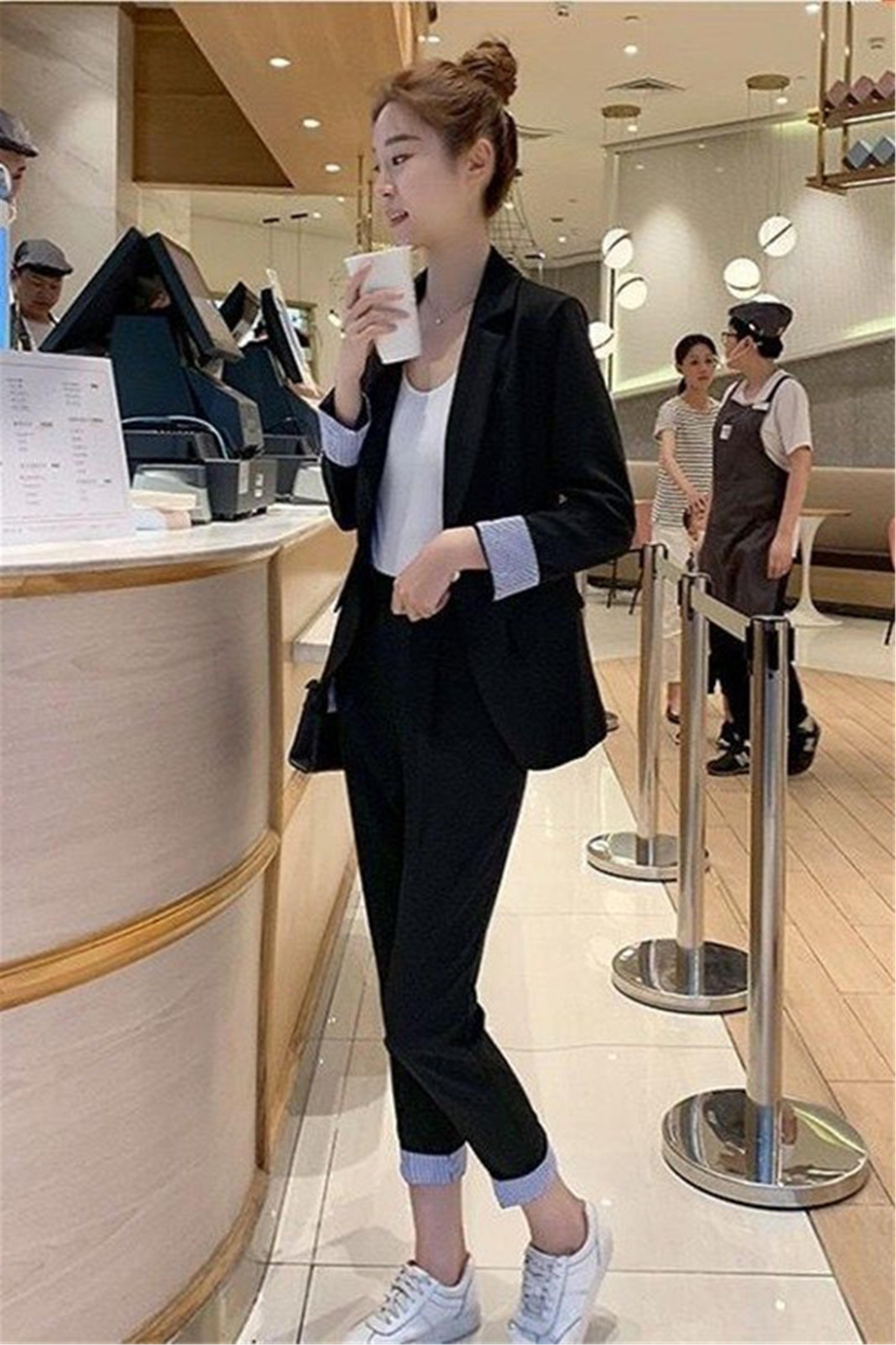 2021春新款气质名媛长袖小西装女九分裤休闲西服职业两件套