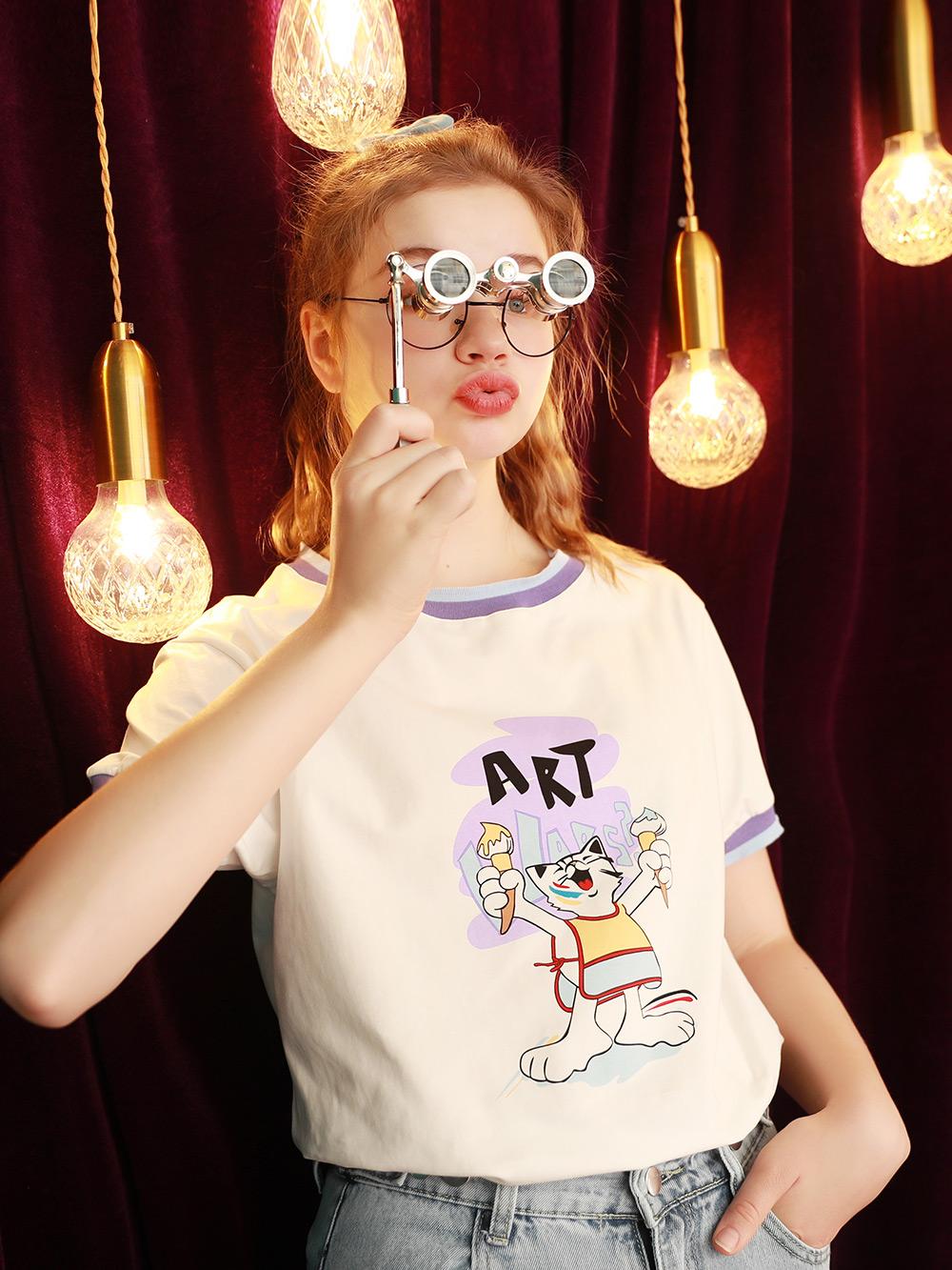2021年夏季新款宽松白色T恤女短袖日系甜美撞色上衣学生体桖