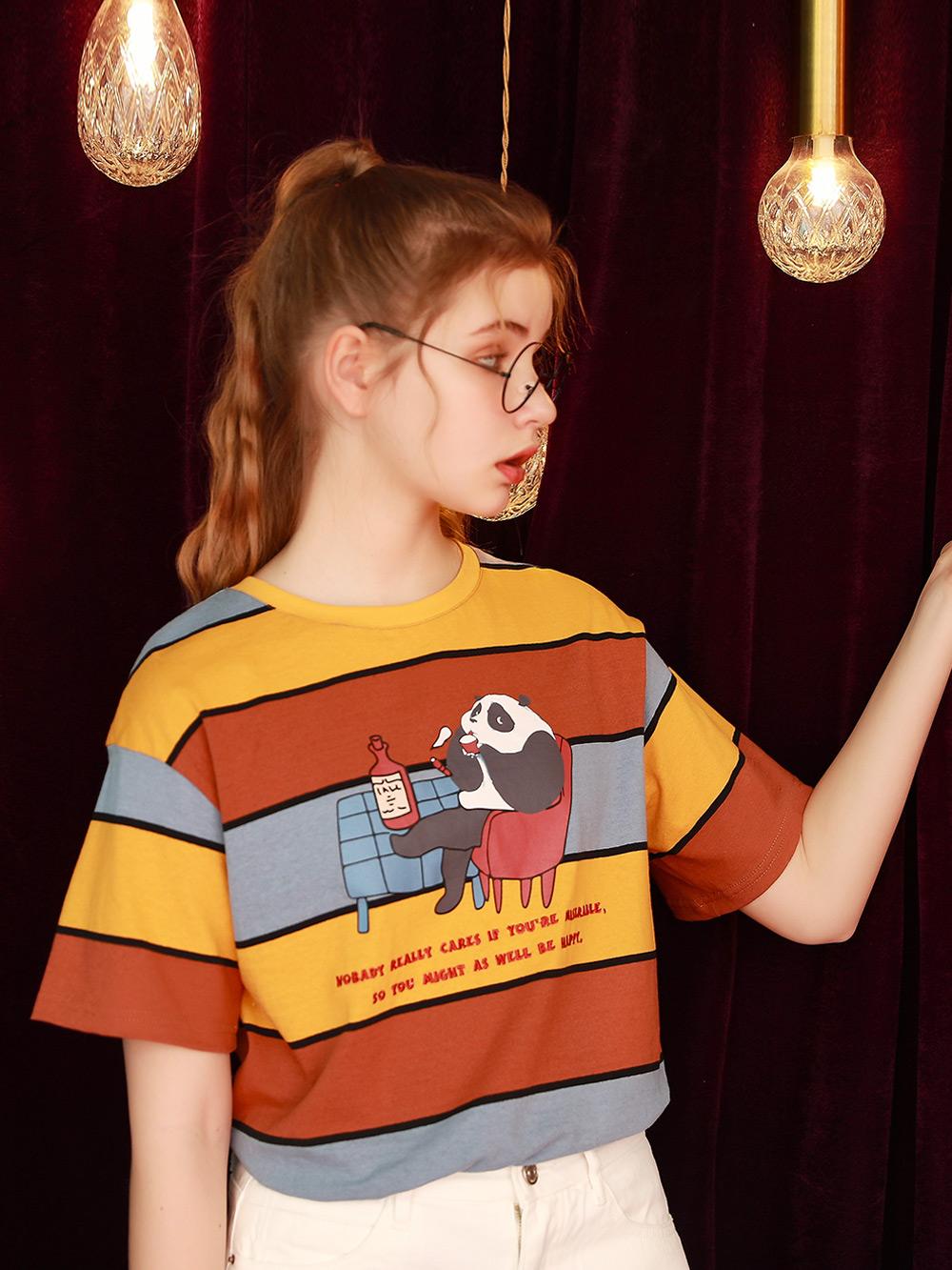 短袖女日系复古条纹上衣2021年夏季新款学生半袖T恤宽松体桖