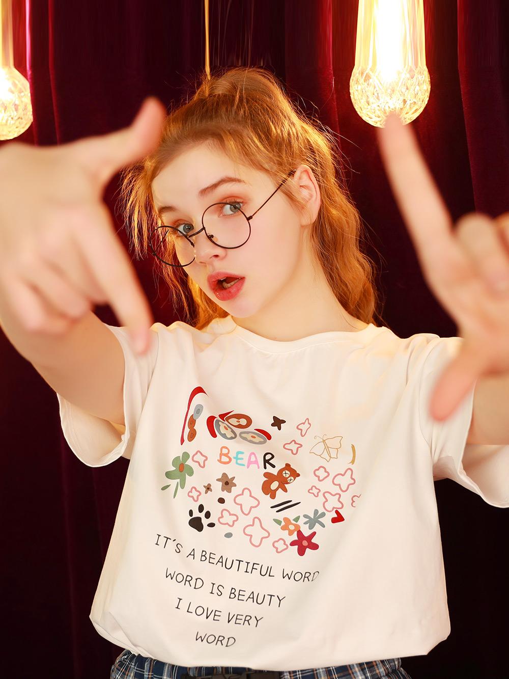 短袖2021年新款女白色T恤宽松韩版半袖夏季上衣学生打底体桖