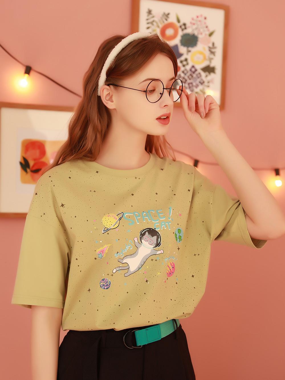 设计感小众短袖T恤女夏2021年新款绿色半袖学生上衣半袖体桖