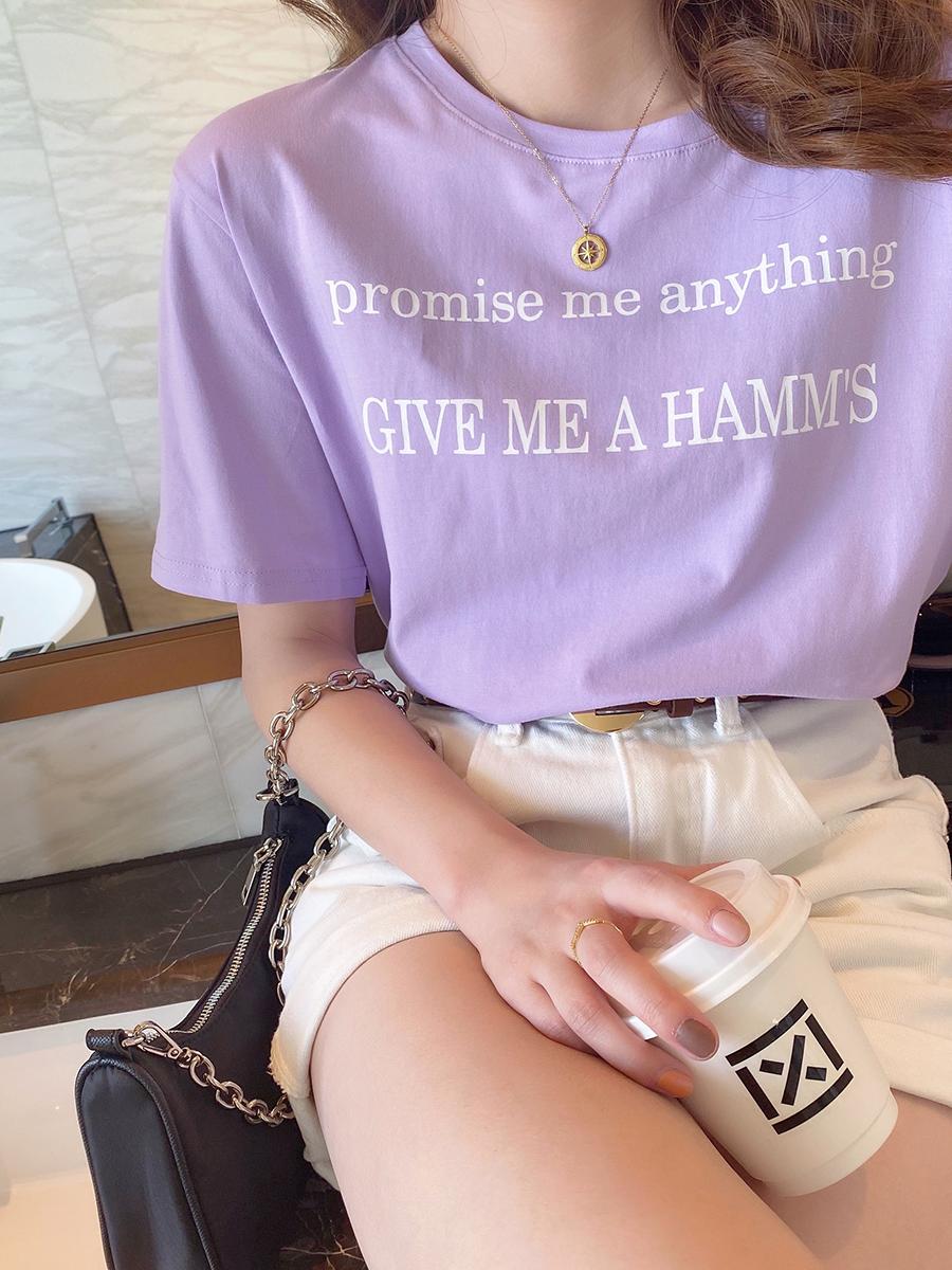 t恤女网红超火年新款韩版宽松短袖紫色上衣夏季2021女装潮流