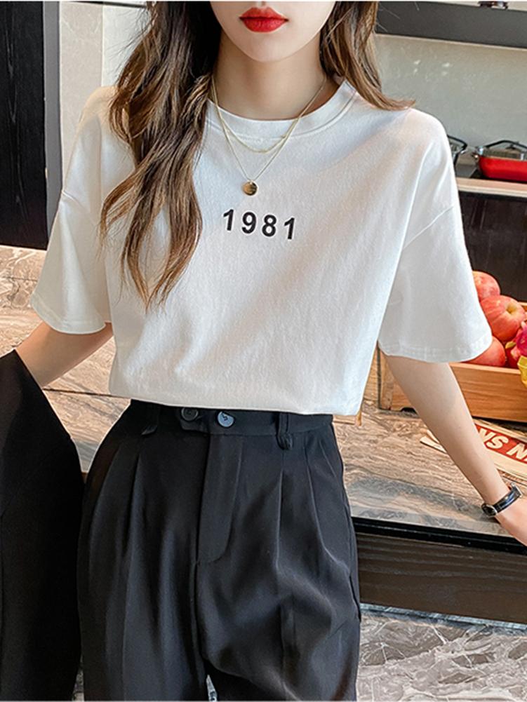 2021短袖t恤女年新款印花字母纯色打底衫内搭宽松白色上衣潮