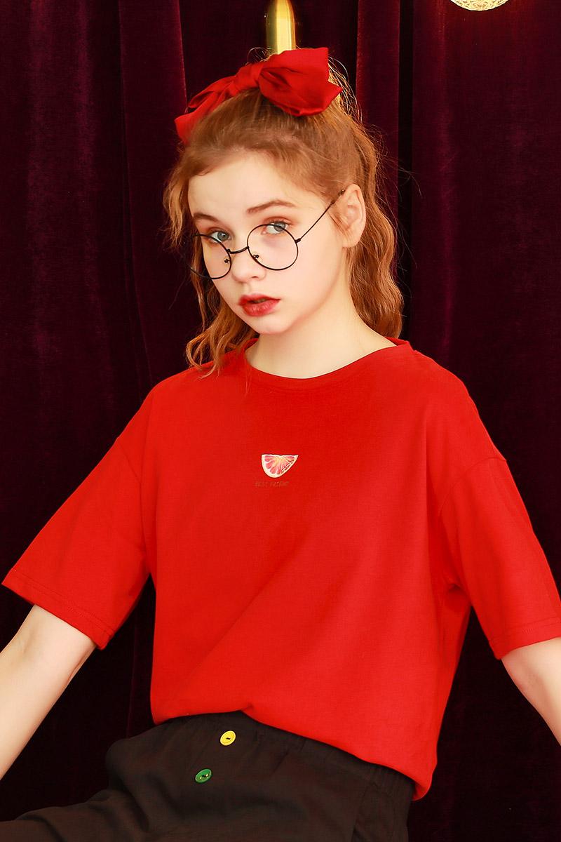 短袖t恤女潮黑色半袖上衣2021年夏季新款宽松红色学生体桖