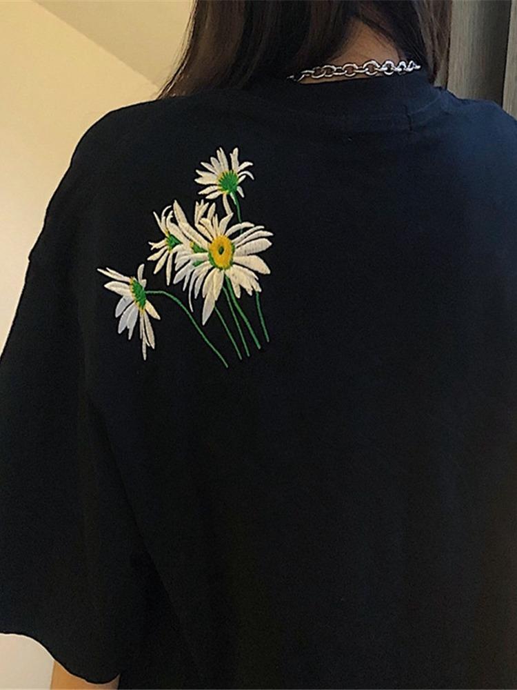 前后片刺绣黑色小雏菊半袖T恤女2021夏季宽松短袖学生上衣潮