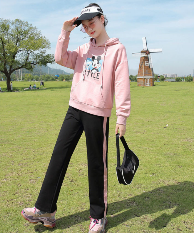 少女秋装初中学生运动卫衣服女连帽长袖新款韩版卡通休闲两件套装