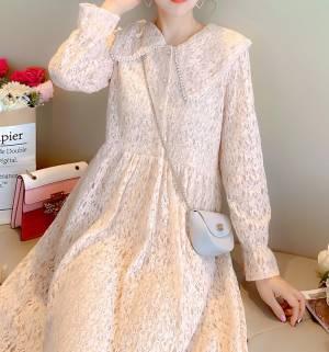 【彩妆师华子】新款宽松蕾丝钉珠连衣裙女 #蕾丝连衣裙#