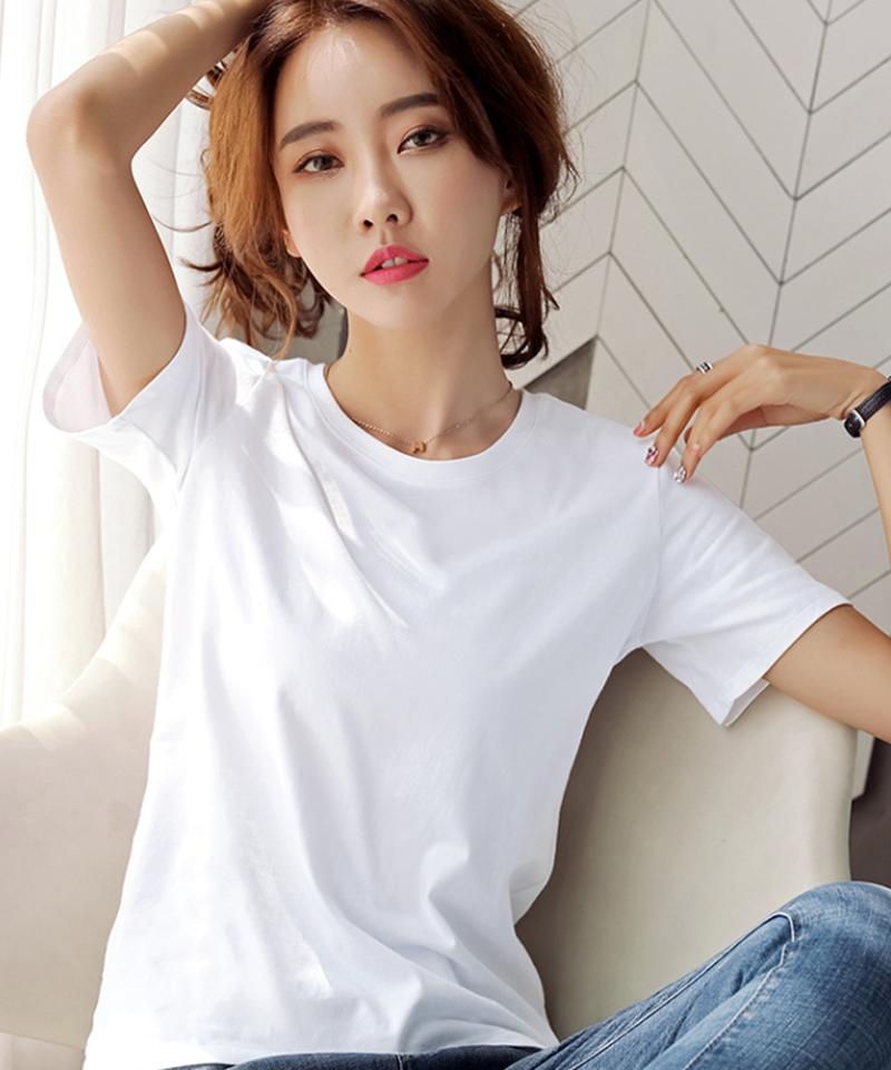 纯棉白色T恤女短袖宽松大码体恤体桖黑纯色半袖上衣2021夏丅