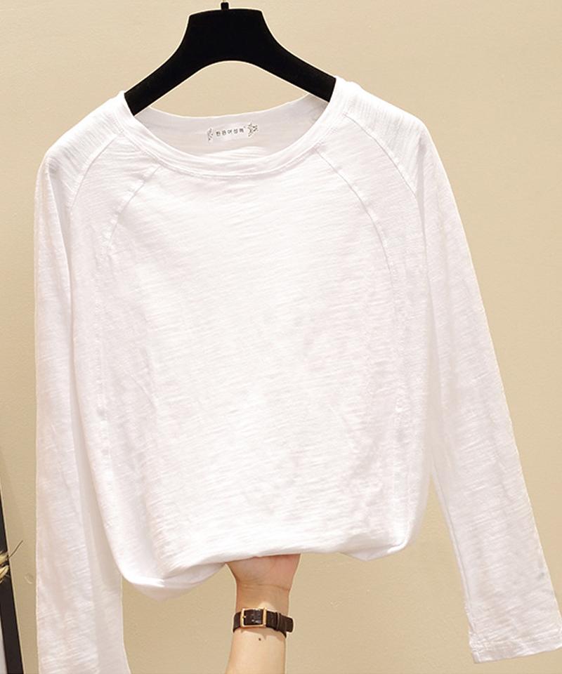 春秋新款女装百搭外穿上衣白色竹节纯棉长袖T恤女宽松内搭打底衫