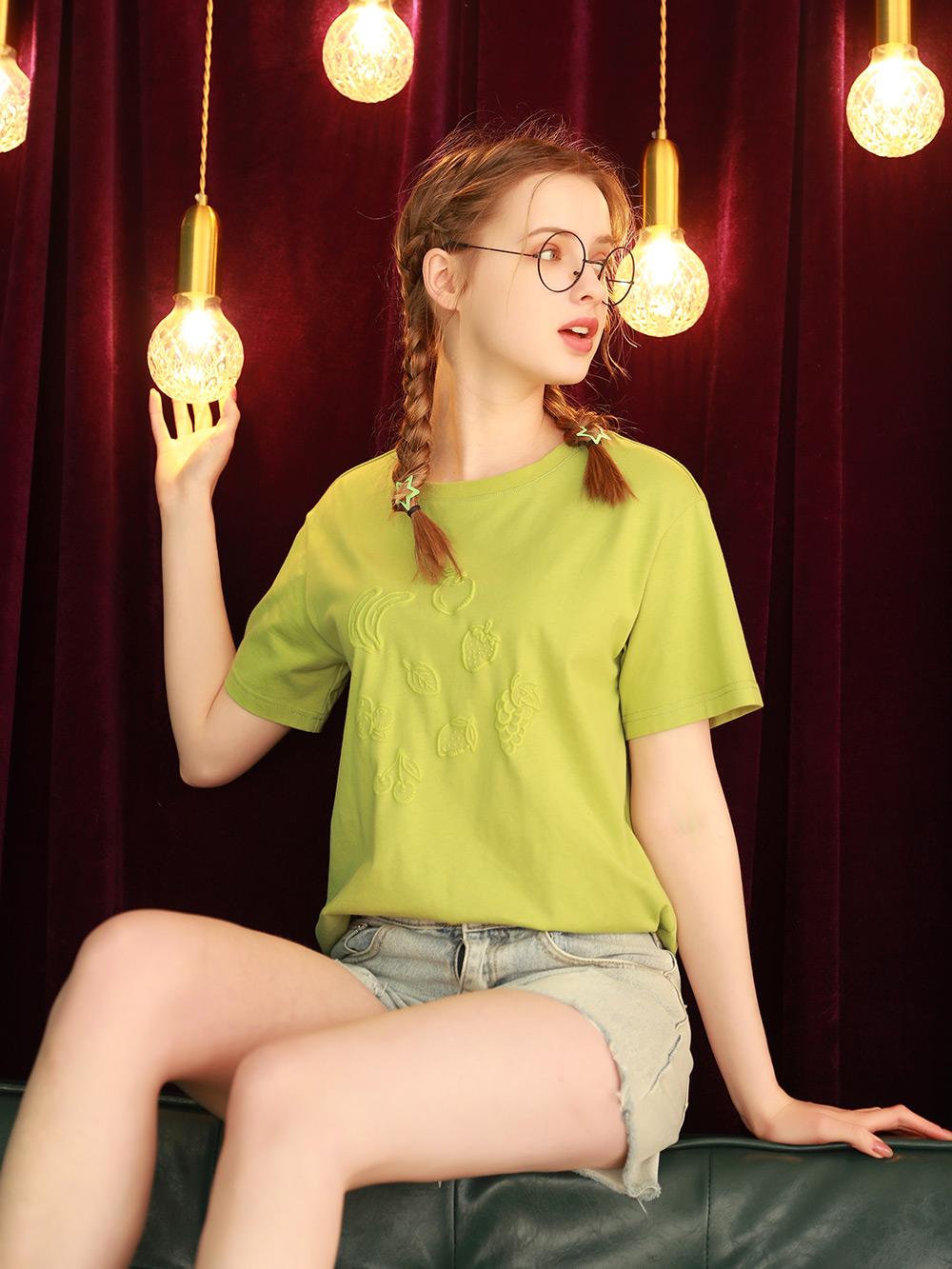 设计感小众绿色纯棉短袖t恤女2021年新款夏季半袖上衣体桖夏