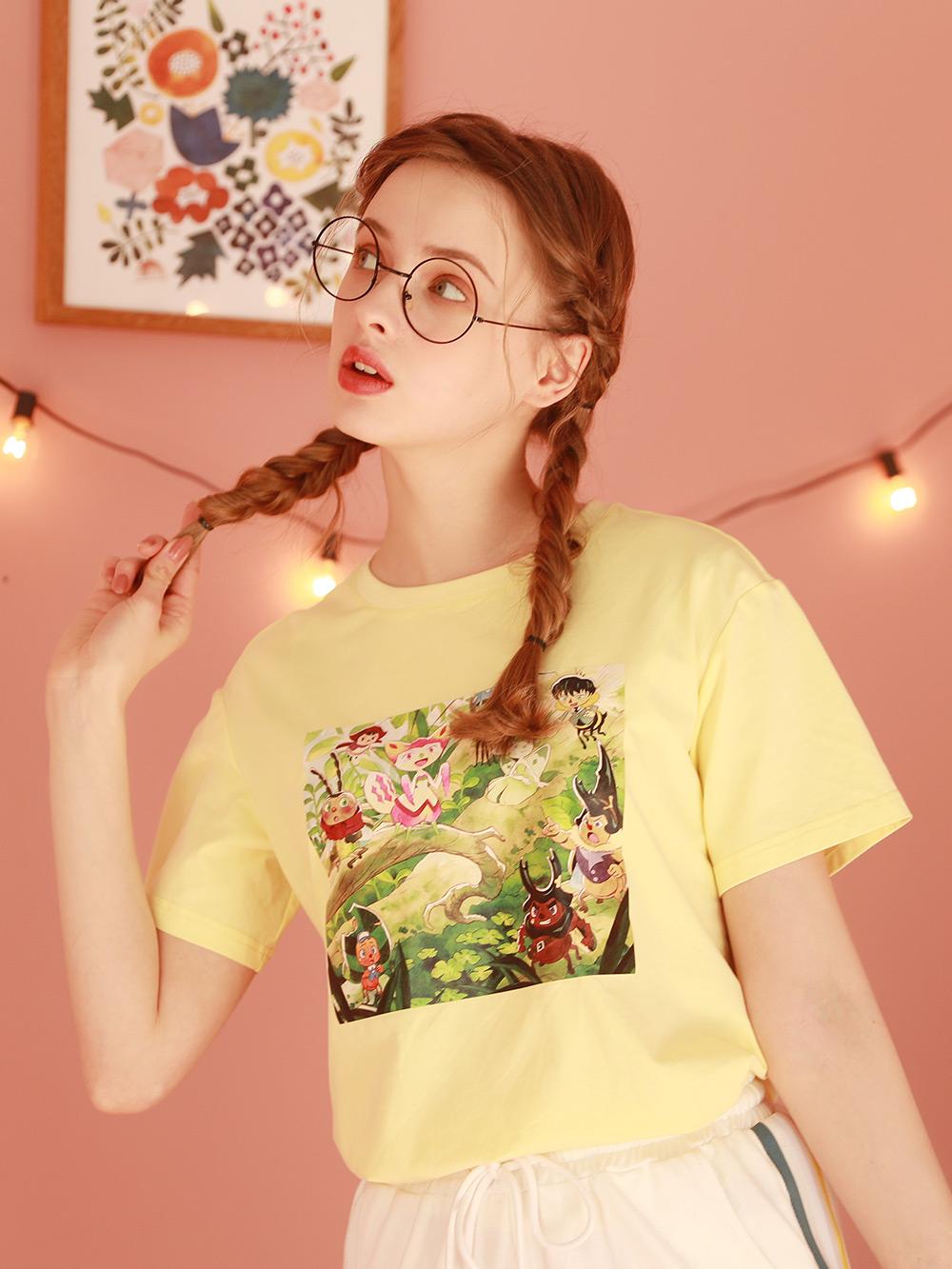黄色宽松短袖t恤女2021新款夏季半袖学生上衣设计感小众体桖