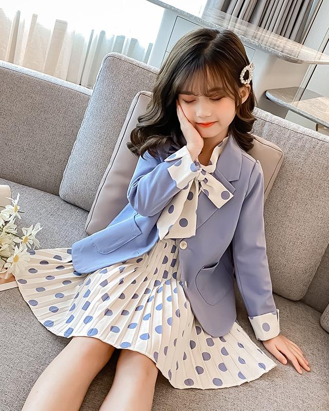 女童连衣裙小西服套装2021新款洋气中大儿童裙子两件套衣服潮
