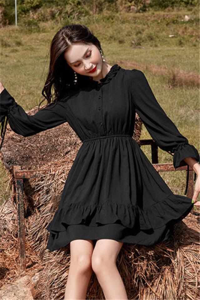 小莫甘娜春季新款韩版时尚女装宽松洋气百搭修身显瘦小个子连衣裙