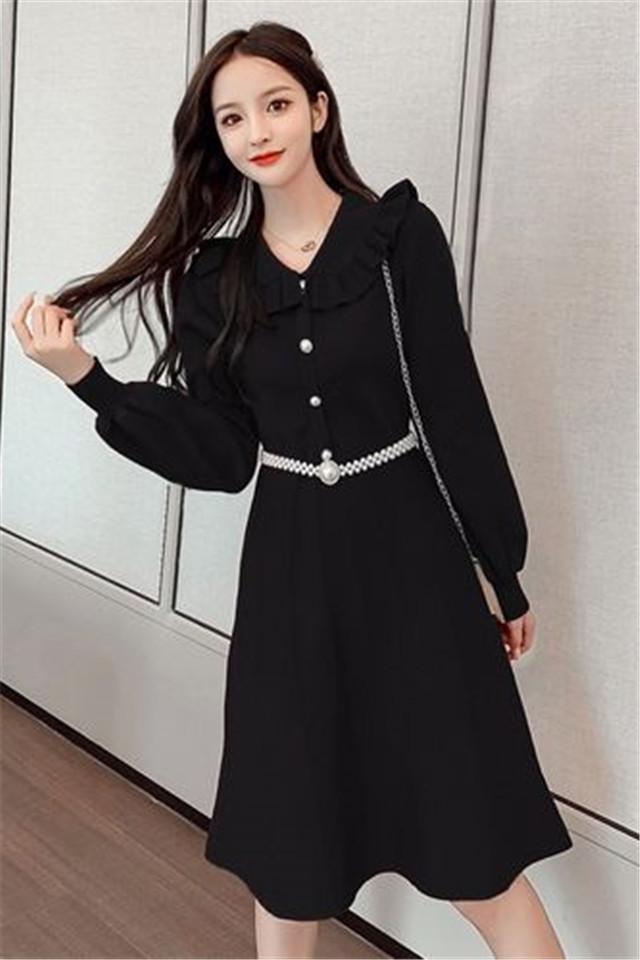 小莫甘娜春季新款韩版时尚女装宽松洋气甜美修身显瘦气质连衣裙