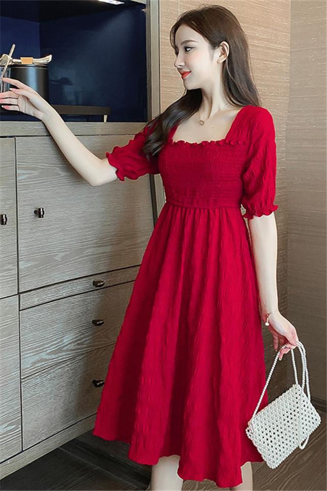 小莫甘娜春季新款韩版时尚女装修身显瘦洋气轻熟风中长款连衣裙