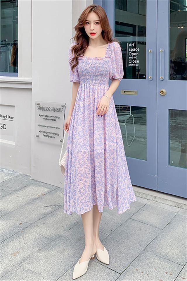小莫甘娜春季新款韩版时尚女装洋气百搭雪纺碎花方领气质连衣裙